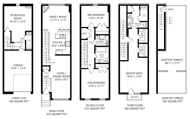 Featured property 3 bed 3 bath freehold cabbagetown for Stacked townhouse floor plans