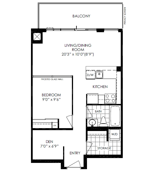516 25 cole st 1 bed den at one cole condos regent Regent heights floor plan