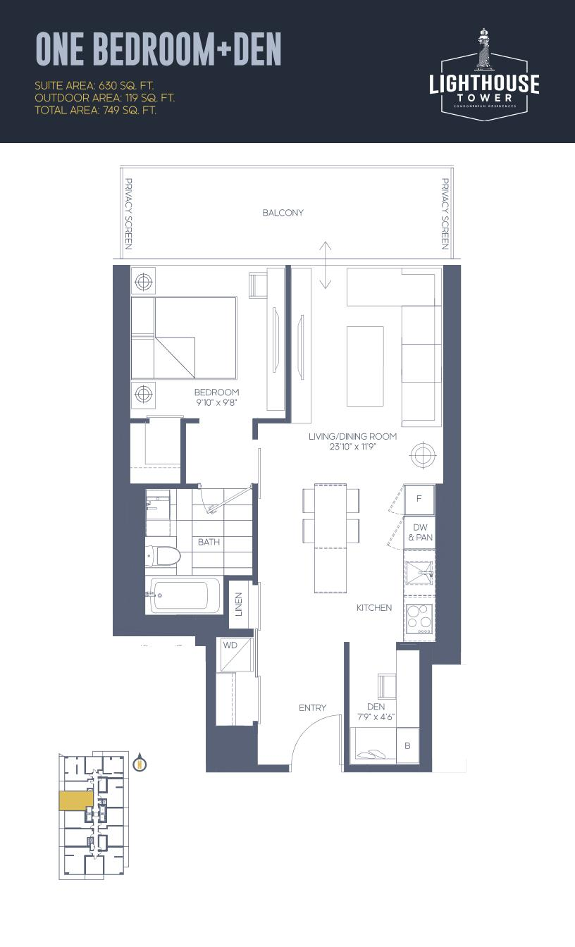 Daniels Waterfront - Lighthouse Tower Condos - Toronto - Floorplan - 1 Bedroom + Den