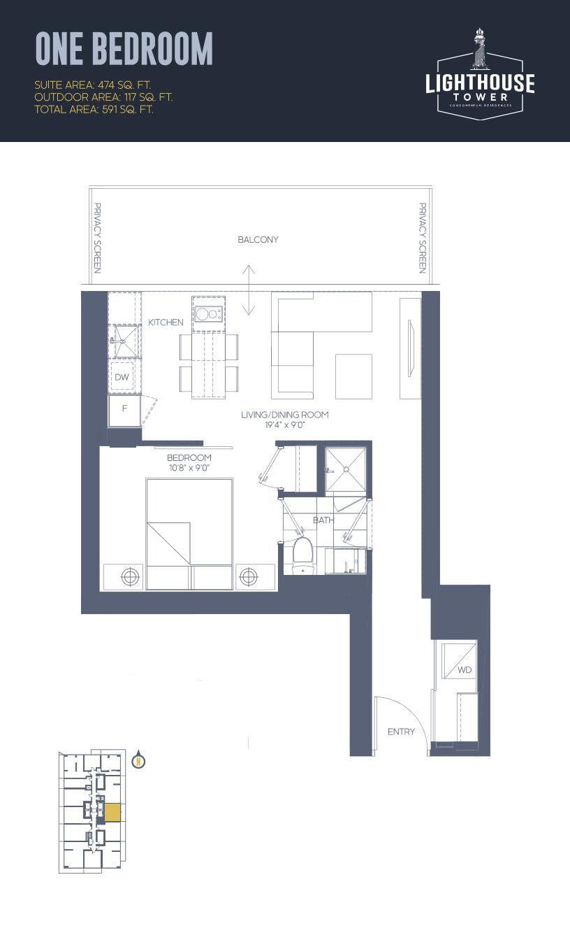 Daniels Waterfront - Lighthouse Tower Condos - Toronto - Floorplan - 1 Bedroom