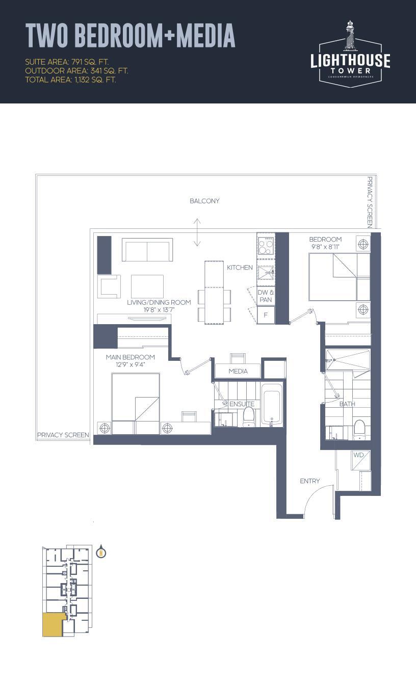 Daniels Waterfront - Lighthouse Tower Condos - Toronto - Floorplan - 2 Bedroom + Media