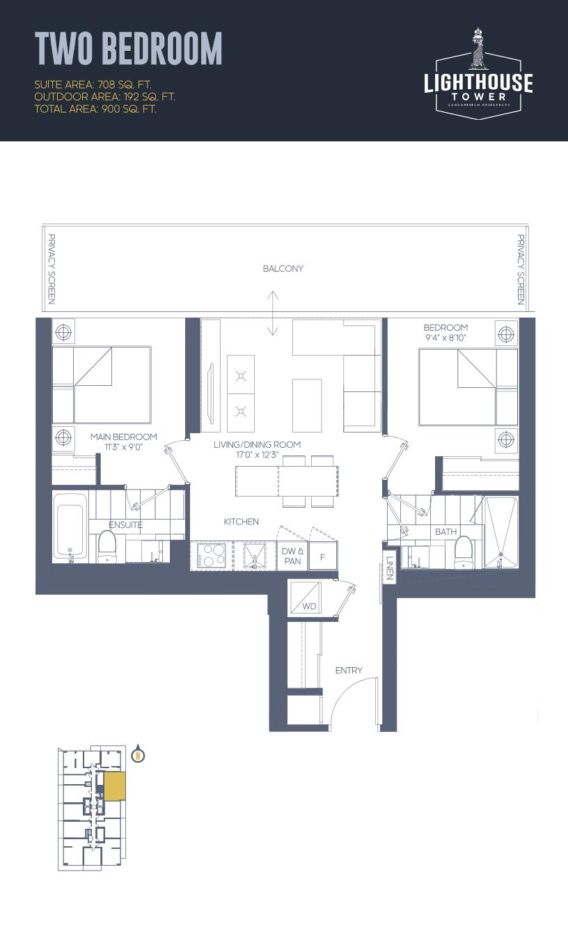 Daniels Waterfront - Lighthouse Tower Condos - Toronto - Floorplan - 2 Bedroom