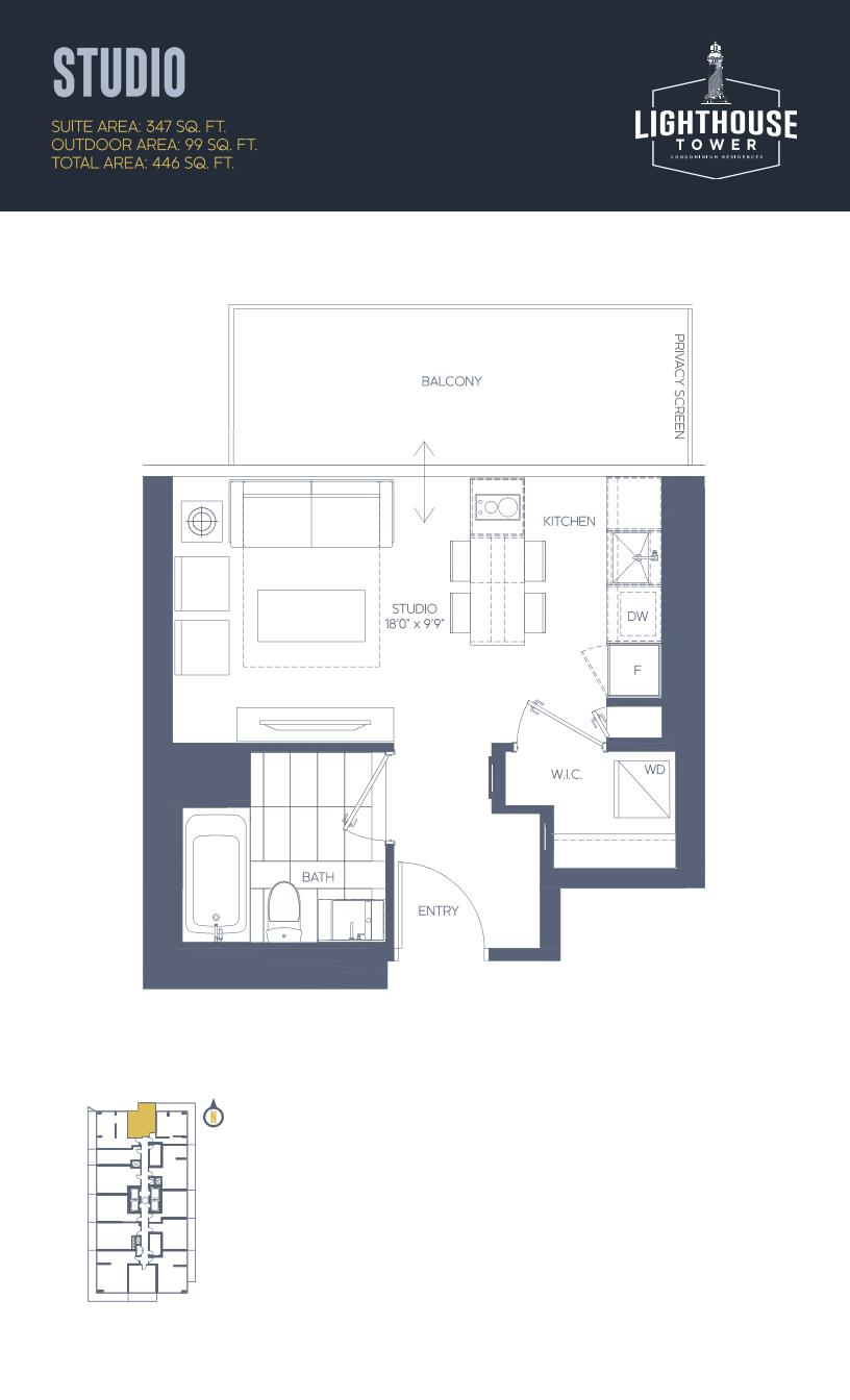 Daniels Waterfront - Lighthouse Tower Condos - Toronto - Floorplan - Studio