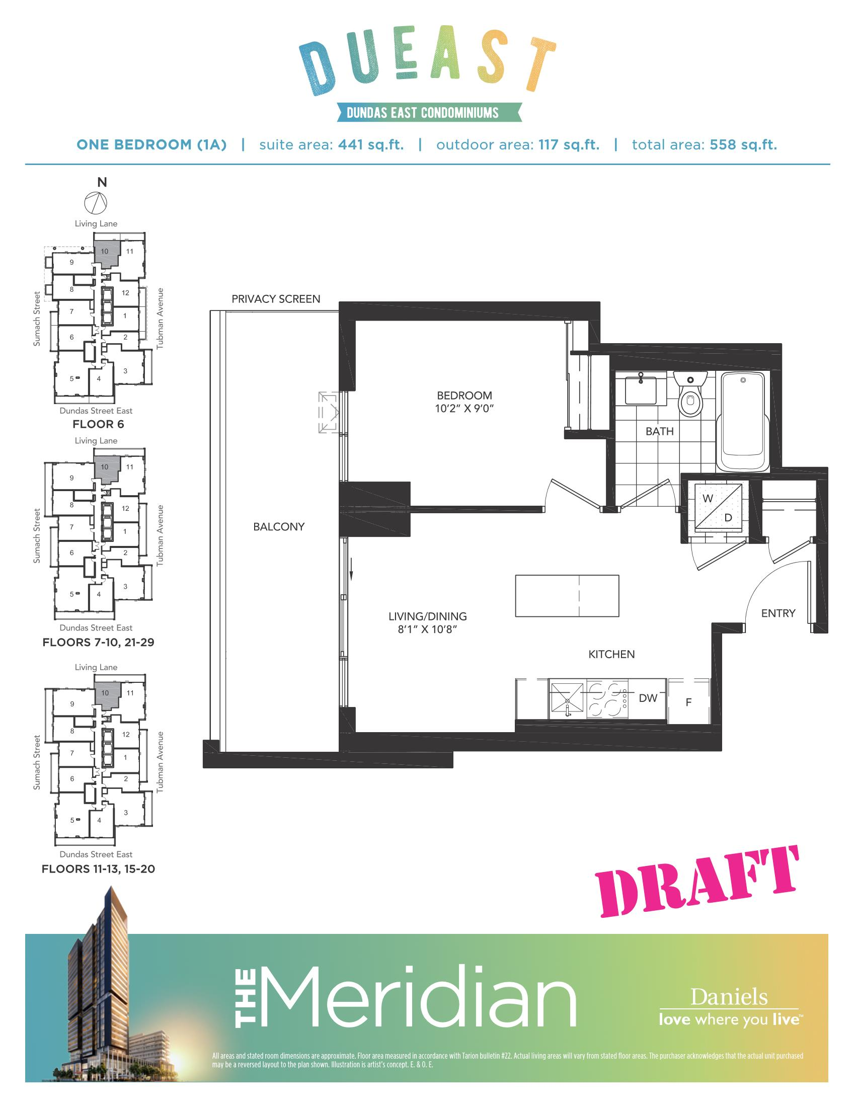 Dueast condos floorplans pricing platinum access for 1 bedroom condo floor plans